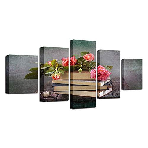 nr HD kunst afbeelding druk decoratie moderne boeken en roze bloem stilleven canvas schilderij voor woonkamer wand-40x60 40x80 40x100 cm geen lijst
