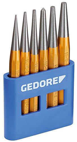 GEDORE Durchtreiber-Satz, 6-teilig, Splinttreiber-Set im PVC-Halter, gehärtet, angelassen, Stahl, Werkzeug, 8753680
