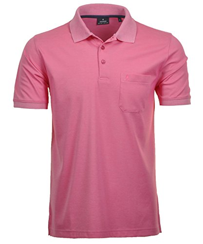 Ragman Herren Kurzarm Softknit Poloshirt M Pink