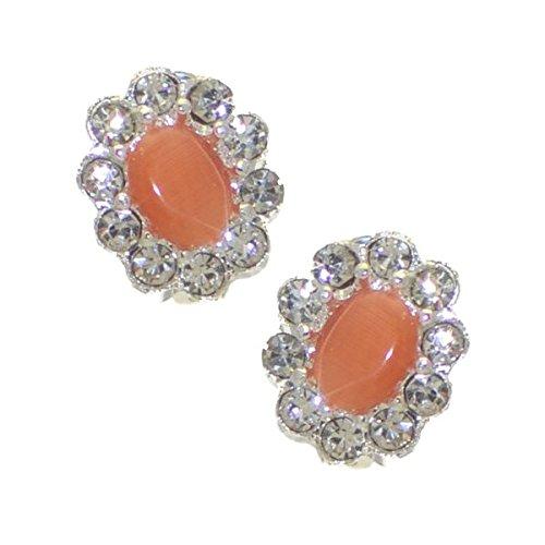 ADORLEE Clip di cristallo arancione argento orecchini