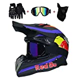 OUTLL Motocross Helm Set, mit Brille/Maske/Handschuhe, Erwachsene Offroad Motorrad MTB BMX Enduro...