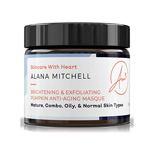 Sample Mini Brightening Pumpkin Enzyme Face Mask .5oz W/ Glycolic Acid, Lactic and Citric Acid - Instant Gel Exfoliating Mask For Anti Aging, Lighter, Younger Refreshed Neck and Facial Area