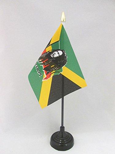 AZ FLAG TISCHFLAGGE BOB Marley 15x10cm goldene splitze - BOB Marley TISCHFAHNE 10 x 15 cm - flaggen