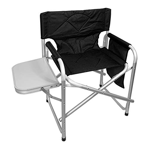 FineHome Aluminium Campingstuhl Regiestuhl Camping Stuhl inkl. Seitentasche und Klapptisch schwarz klappbar Outdoor