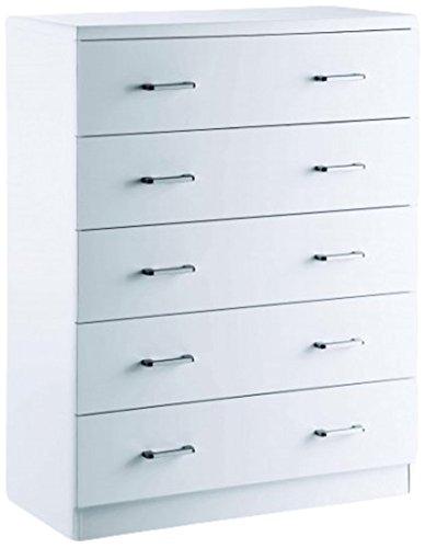 LPD Furniture Novello Kommode mit Hochglanz, 86x 40x 114cm, weiß