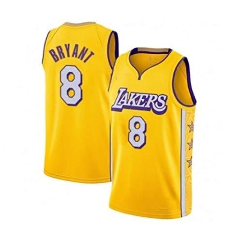 Sin mangas unisex 24 de Kobe Bryant Lakers Jersey, baloncesto masculino, bordado de malla de baloncesto swingman Jersey Gran,V neck yellow 8,XL