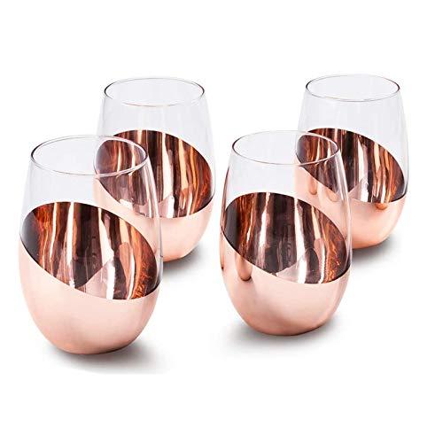Copas de vino sin tallo, con chapado metálico, 4 unidades, color marrón