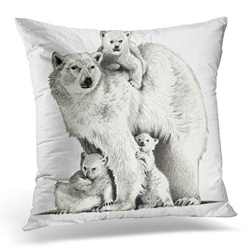 Awowee Cushion Cover 50x50cm/20x20inches Animal Polar Bear Three Cubs Pencil Sketch Family Drawing Home Decor Throw Pillow Cover Square Pillowcase for Bed Sofa