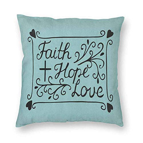 YUAZHOQI Velvet Decorative Pillow Covers 18' x 18', Hand Lettering Spiritual Faith Hope Love Quote with Floral Arrangement Hearts, Throw Pillow Cover for Couch Bed Chair Nursery, Pale Blue Black