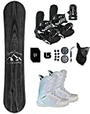 Symbolic Knotty Kids Snowboard & Bindings & Boots +Leash+Stomp+Mask+Burton Decal Package (BLK Bindings+ SYM White Boot 6.5, 130cm Knotty Rocker)