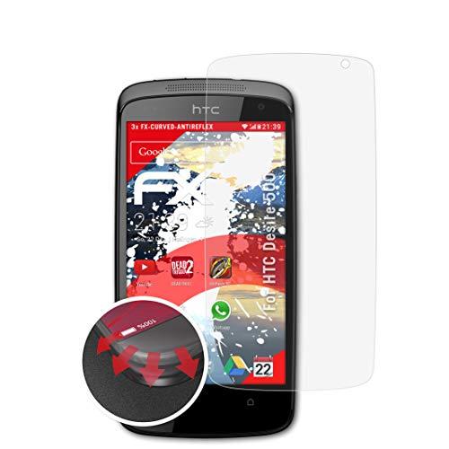 atFolix Schutzfolie kompatibel mit HTC Desire 500 Folie, entspiegelnde & Flexible FX Bildschirmschutzfolie (3X)