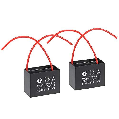 sourcing map Techo Ventilador Condensador CBB61 16uF 450V AC 2 Cables Metalizado Polipropileno Película Condensador 52x40x29mm para Eléctrico Ventilador Bomba Motor Generador 2uds