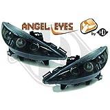 4226380, Paire de Feux Phares Angel Eyes noir pour 207 de 2006 a 2012