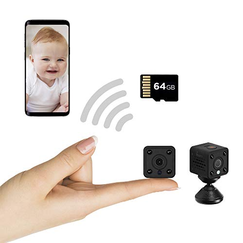 Insygrow  Mini Telecamera Spia Nascosta Scheda Sd 64 Gb Inclusa Microcamera Visione Notturna Ip Wireless 1080p Full-Hd Micro Camera Wifi per Interno Mini Spy Cam Wifi con Infrarossi