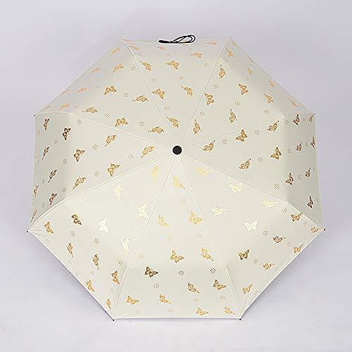Taihang Ultraleichter Kleiner Sonneschirm-Sonnenschutz UV-faltender weiblicher Regenschirm Doppelt-verwenden Sie Sonneschutz 50% faltender Regenschirm Bronzing Schmetterling (Color : Beige)