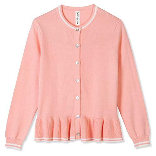 Kid Nation Girls Button Up Cardigan Holiday Sweater Ruffled Hem Crew Neck Long Sleeve Lily 5-6T