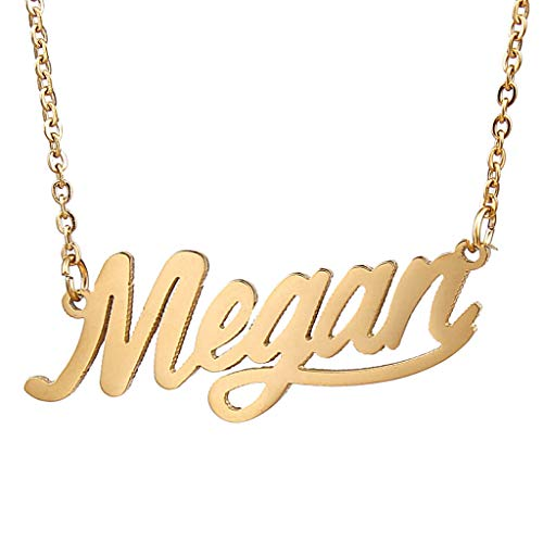 AIJIAO 18k Gold Plated Script Nameplate Megan Name Necklace Personalized Choker Women Gift