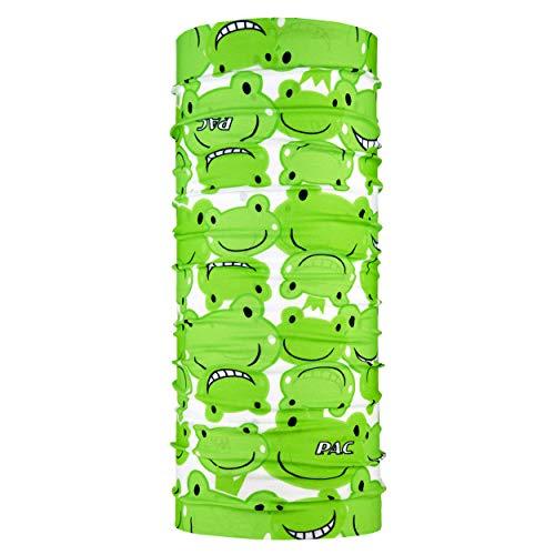 P.A.C. Kids Original Happy Frog Multifunktionstuch - nahtloses Mikrofaser Schlauchtuch, Halstuch, Schal, Kopftuch, Unisex, 10 Anwendungsmöglichkeiten