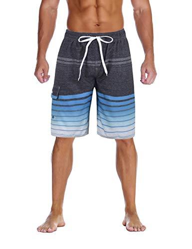 Nonwe Men's Swim Shorts Quick Dry Striped Hawaiian Vacation Swim Trunks Drawsting Gray 38