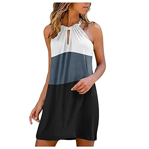 Womens Dress, SHOBDW Female Stitching Printing Fashion Ladies Summer Print Sleeveless Sundress Blackless Mini Dress Midi Skirt Loose Blouse Beach Shirt(Black,L)