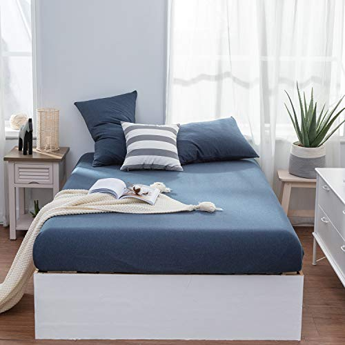 LIFETOWN Jersey Knit Cotton Fitted Sheet Queen with 2 Matching Pillowcases (No Flat Sheet), Extra Deep Pocket Fitted Bottom Sheet, Ultra Soft and Easy to Put (Queen, Navy Blue)