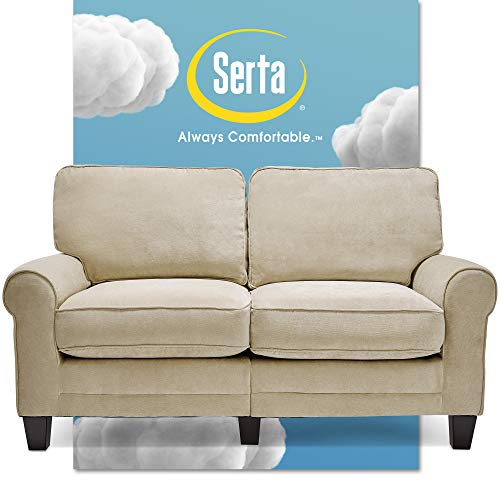 Serta Copenhagen Sofa Couch for Two People, Pillowed Back Cushions and Rounded Arms, Durable Modern Upholstered Fabric, 61' Loveseat, Tan