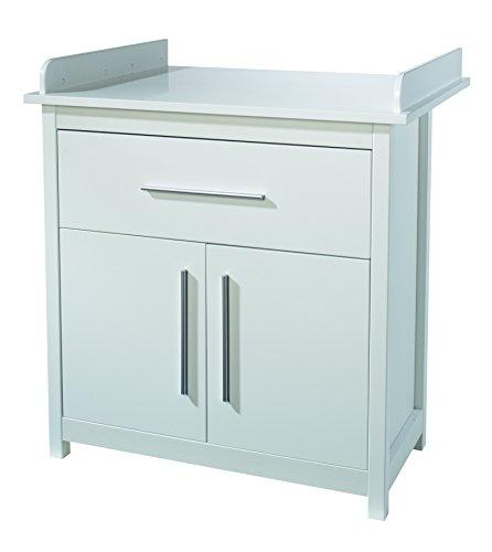 roba schmale Wickelkommode 'Castello' inklusiv Wickelansatz, Kinderzimmer Kommode mit einer Schublade und zwei Türen, Wickelhöhe 92 cm, weiß