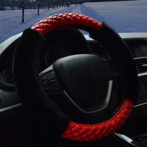 Couverture de volant de voiture peluche courte avec hiver, taille universelle 35-40CM / 13.7-15.7 pouces (Color : A2-39-40cm)