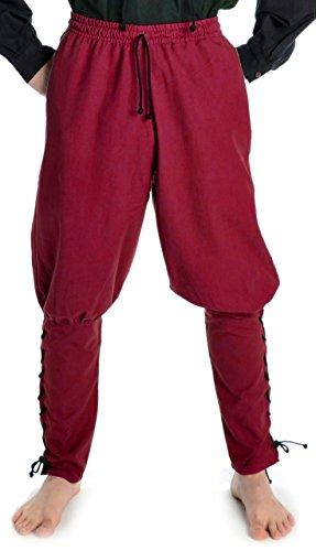 HEMAD Pantalones de algodón para hombres Viking - con cordones - S/M Rojo