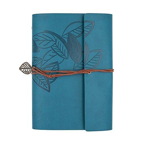 Zhi Jin - Taccuino ricaricabile ad anelli con copertina in pelle, formato A5, stile vintage Blue