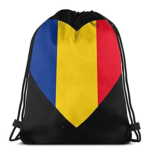 Bolsas de cordón con diseño de bandera de Rumania unisex con cordón, bolsa de deporte, bolsa grande con cordón, mochila de gimnasio a granel