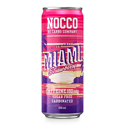 NOCCO BCAA Strawberry | 24 x 330ml | Zero Sugar Functional Energy Drink | No Carbs Company | Vitamin Enhanced With 180ml Caffeine | Flavoured Functional Drinks for Health, Fitness & Everyday
