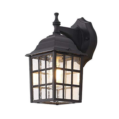 Zenghh Cottage impermeable al aire libre lámpara de pared lámpara de pared externa fuera de la luz montado en la cortina de lámpara hotel Porche luz LED E27 Cabina de teléfono de aluminio de cristal M