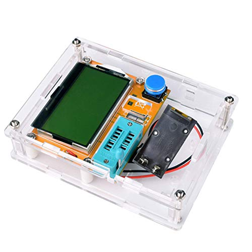 Aideepen Mega328 LCR-T4 Transistor Tester Diode Triode Capacitance LCR ESR Meter Module MOS PNP/NPN M328 (Battery Case with Shell)