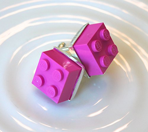 Dark Pink Brick Cuff Links