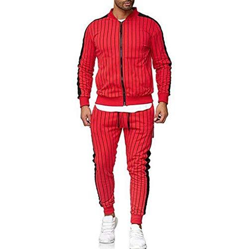 Riou-Sweatshirts Herren Jogginganzug Trainingsanzug Sportanzug Fußball Sporthose Hoodie Hose für Gym Warm Tracksuit