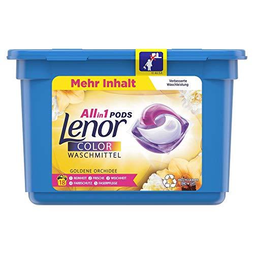 Lenor Waschmittel Pods All-in-1, Lenor Goldene Orchidee, Waschmittel Color, 18 Waschladungen, 8001841700724