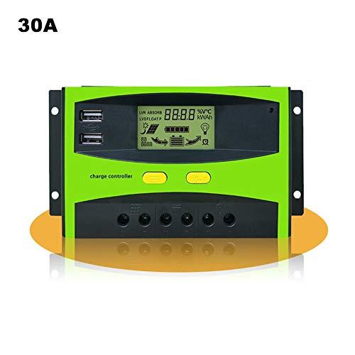 knowledgi 20A-30A Solar Ladegerät, Solarpanel-Laderegler 12V 24V Dual USB, Einstellbare Parameter Hintergrundbeleuchtung LCD-Display