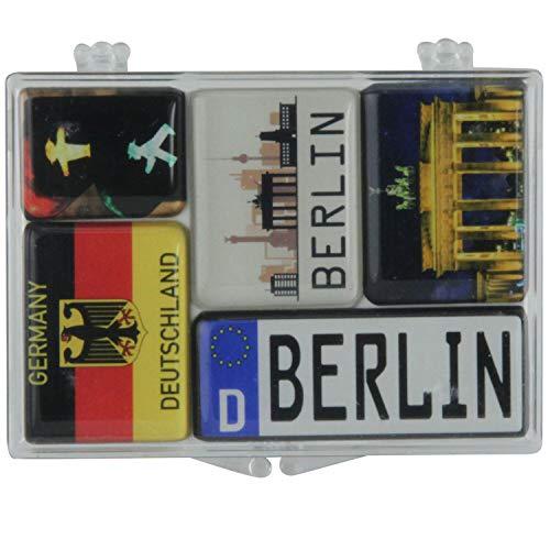 Magnet-Set (5-teilig) Berlin | Nummernschild, Deutschland Flagge und Brandenburger Tor | Mini-Magnete | Souvenir