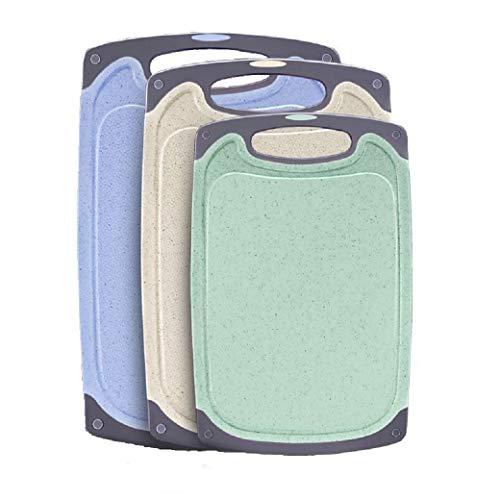 Snijplanken Set, Plastic Snijplank BPA Gratis Professionele Keuken Gekleurde Snijplanken met Antislip Voeten, Vaatwasser Veilig en Gemakkelijk te reinigen 3 Pack