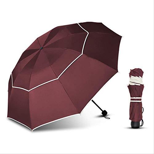 ZPF ParaguasUmbrella Rain Women Men 110Cm 10Ribs Calidad Grande Doble Capa 3 Pliegues Fuerte Paraguas Resistente Al Viento Viajes Paraguas ImpermeableRojo