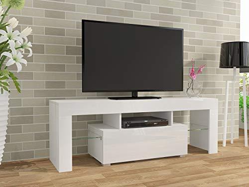 Mueble de TV moderno de 130 cm con soporte frontal de alto brillo y cuerpo mate para el hogar TV LED Mesa con gran cajón de almacenamiento para sala de estar