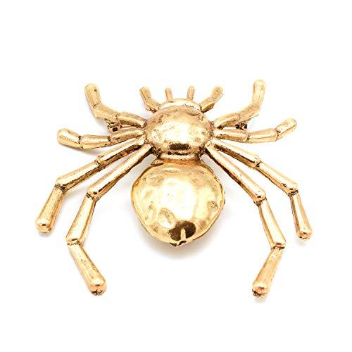 Broche bisutería Metal araña XXL. Resulta Elegante como complemento para un Vestido Sobrio o para darle Personalidad a Tus Looks más Informales. (Dorado)