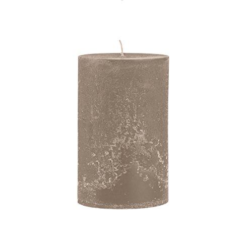 Rustico durchgefärbte, strukturierte Stumpenkerze 200/100mm taupe | Brenndauer: ca. 150 Std | Original von Steinhart
