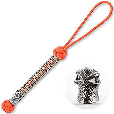 M-Tac Skull Knife Lanyards with Beads - Paracord Lanyard - Tactical Lanyard for Knife – Ninja (Orange)