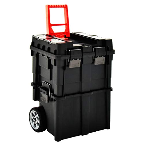 Extaum Werkzeug-Organizer Trolley Werkzeugkoffer Aufbewahrungskiste Werkzeugtrolley mit Griff Stapelbar 46×36×41 cm