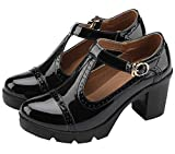 DADAWEN Women's Classic T-Strap Platform Mid-Heel Square Toe Oxfords Dress Shoes Black US Size 6.5