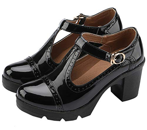 DADAWEN Women's Classic T-Strap Platform Mid-Heel Square Toe Oxfords Dress Shoes Black US Size 8