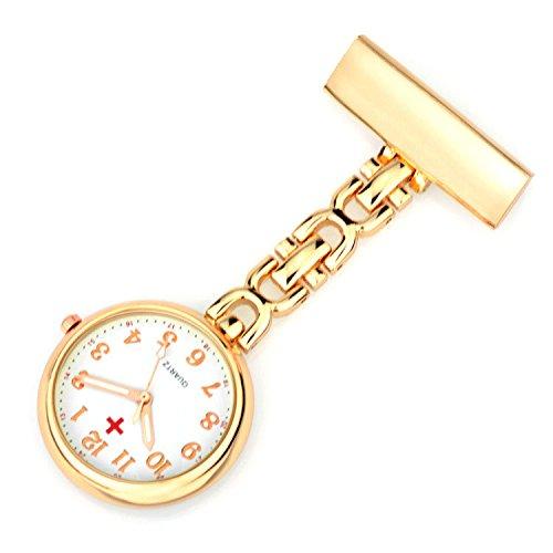 Ellemka JCM-2105 - Elegante Schwesternuhr Clip zum Anstecken FOB Kittel Krankenschwester Pflege-r Quarz Puls-Uhr Gewölbtes Glas Taschen Metall Ansteck-Nadel Trend Design - Rosa Gold