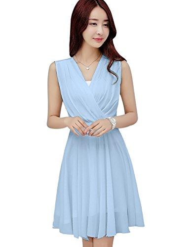 Tanming Women's Sleeveless V-Neck Knee Length Tank Chiffon Dress with Belt (Small, Light Blue)